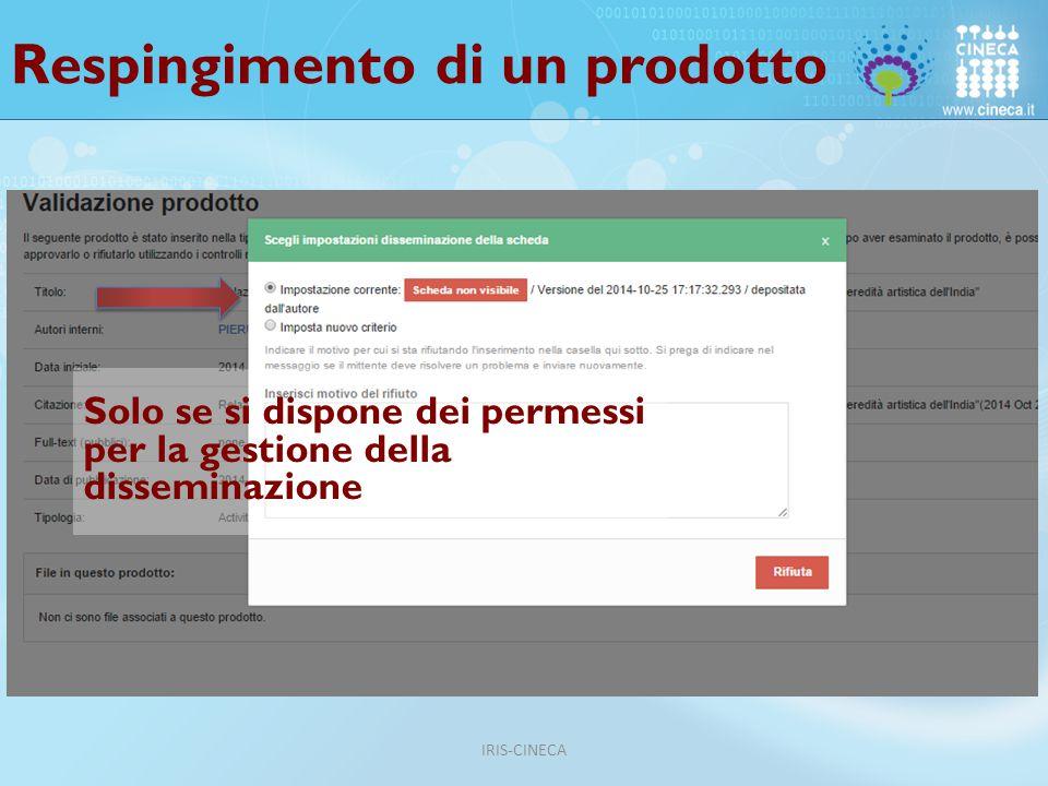 Respingimento di un prodotto Solo se si dispone dei permessi per la gestione della disseminazione IRIS-CINECA