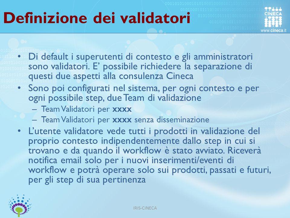 Definizione dei validatori Di default i superutenti di contesto e gli amministratori sono validatori.