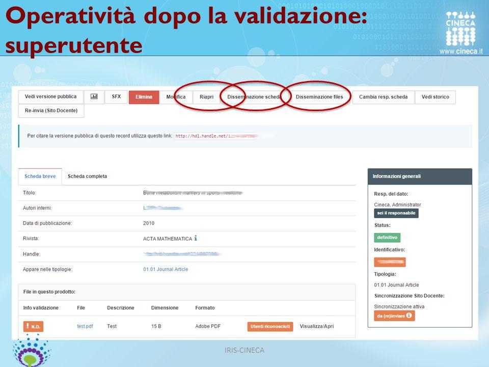 Operatività dopo la validazione: superutente IRIS-CINECA