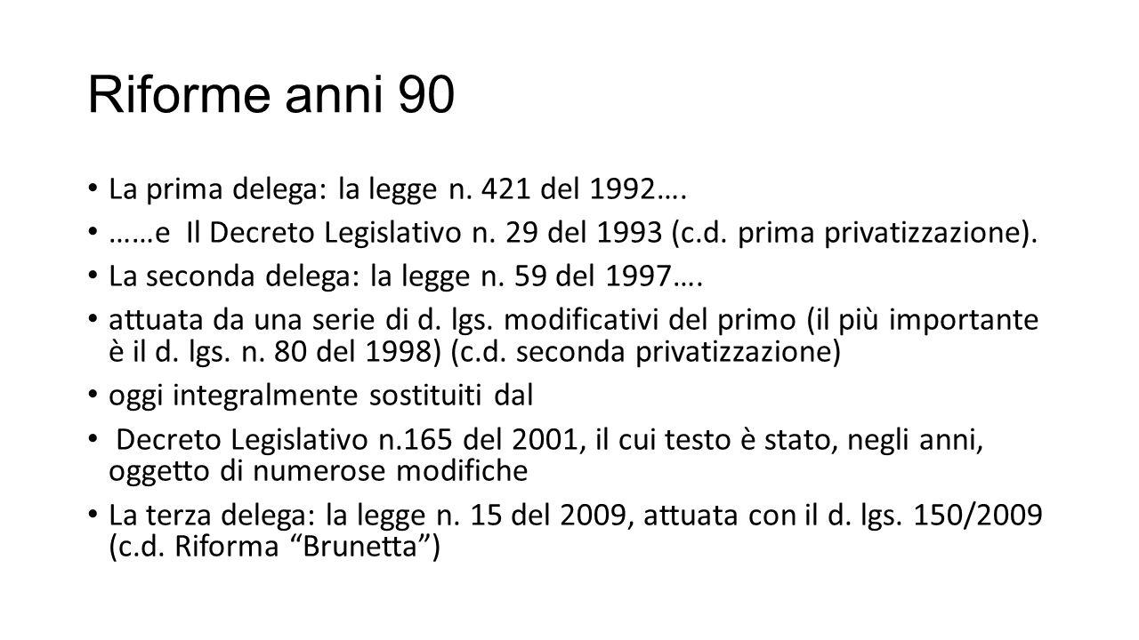 Riforme anni 90 La prima delega: la legge n. 421 del 1992…. ……e Il Decreto Legislativo n. 29 del 1993 (c.d. prima privatizzazione). La seconda delega: