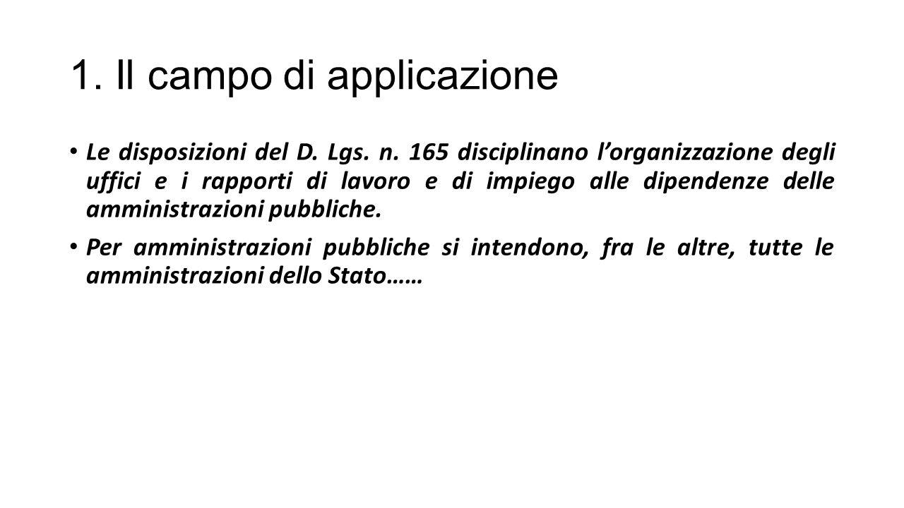 1. Il campo di applicazione Le disposizioni del D. Lgs. n. 165 disciplinano l'organizzazione degli uffici e i rapporti di lavoro e di impiego alle dip