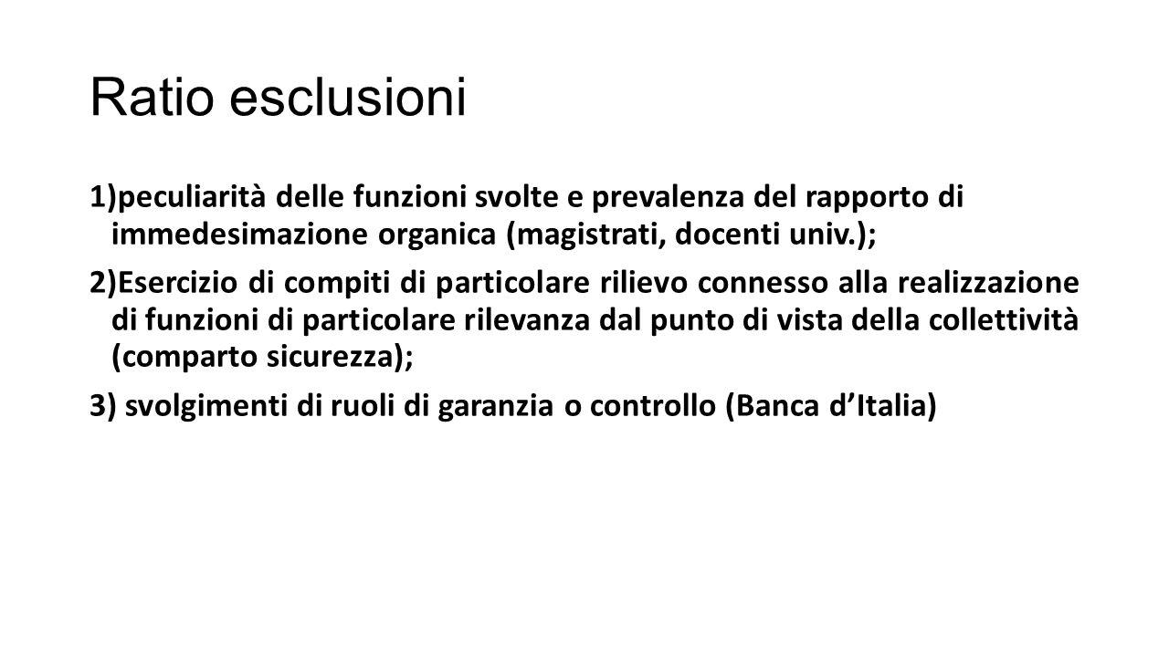 Ratio esclusioni 1)peculiarità delle funzioni svolte e prevalenza del rapporto di immedesimazione organica (magistrati, docenti univ.); 2)Esercizio di