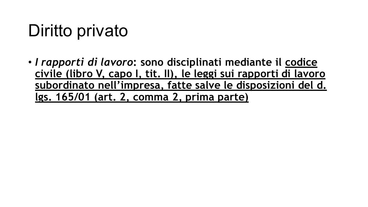 Diritto privato I rapporti di lavoro: sono disciplinati mediante il codice civile (libro V, capo I, tit. II), le leggi sui rapporti di lavoro subordin