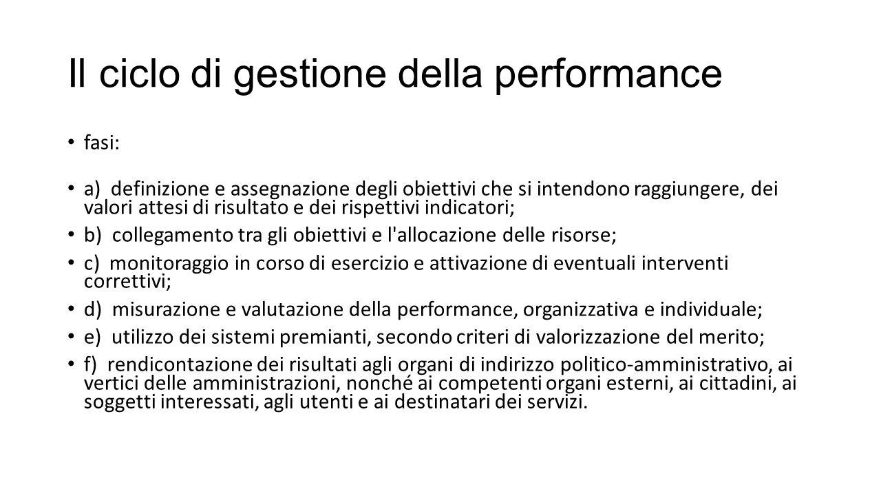 Il ciclo di gestione della performance fasi: a) definizione e assegnazione degli obiettivi che si intendono raggiungere, dei valori attesi di risultat