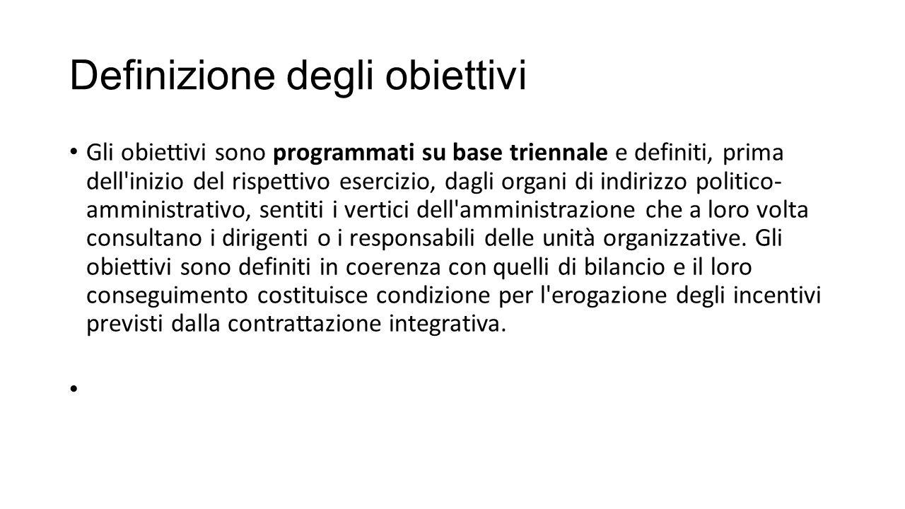Definizione degli obiettivi Gli obiettivi sono programmati su base triennale e definiti, prima dell'inizio del rispettivo esercizio, dagli organi di i