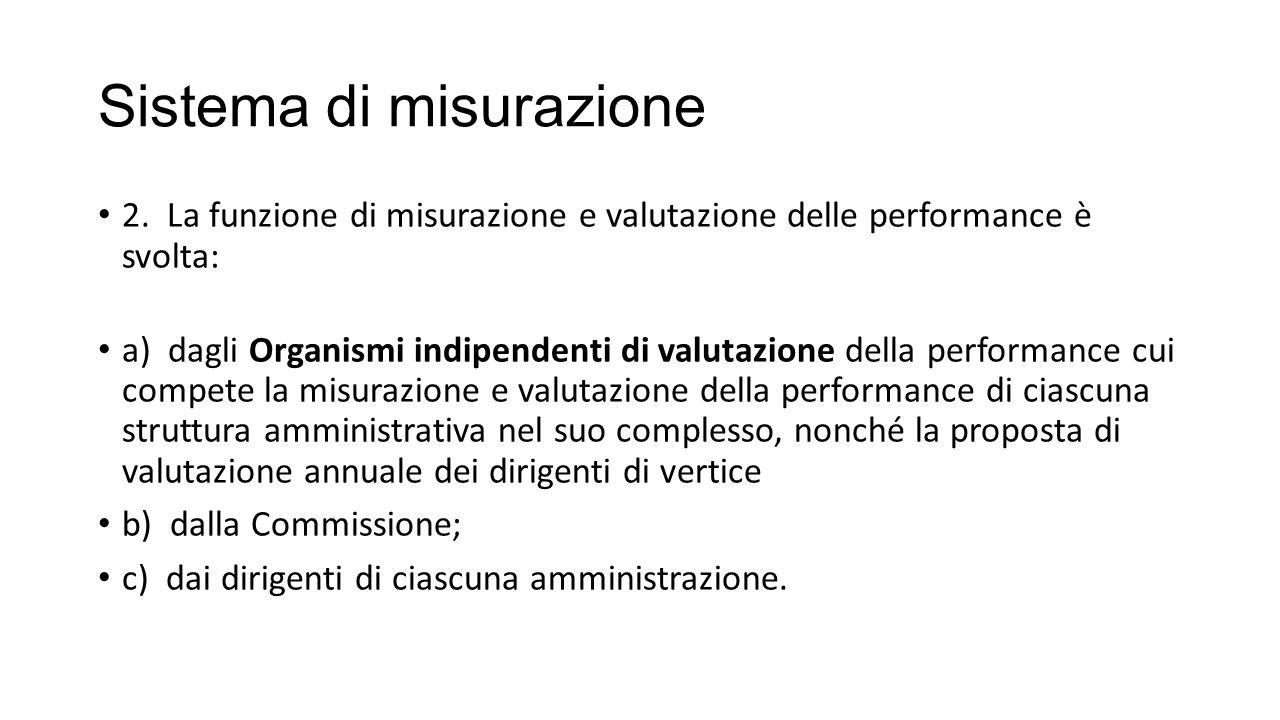 Sistema di misurazione 2. La funzione di misurazione e valutazione delle performance è svolta: a) dagli Organismi indipendenti di valutazione della pe