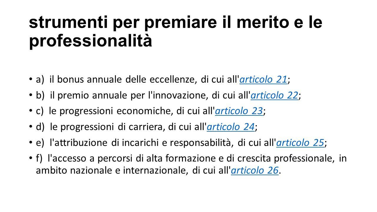 strumenti per premiare il merito e le professionalità a) il bonus annuale delle eccellenze, di cui all'articolo 21;articolo 21 b) il premio annuale pe