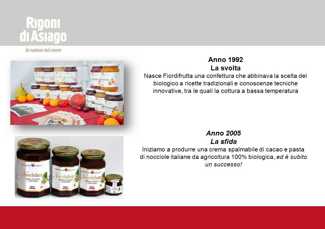 Anno 1992 La svolta Nasce Fiordifrutta una confettura che abbinava la scelta del biologico a ricette tradizionali e conoscenze tecniche innovative, tr