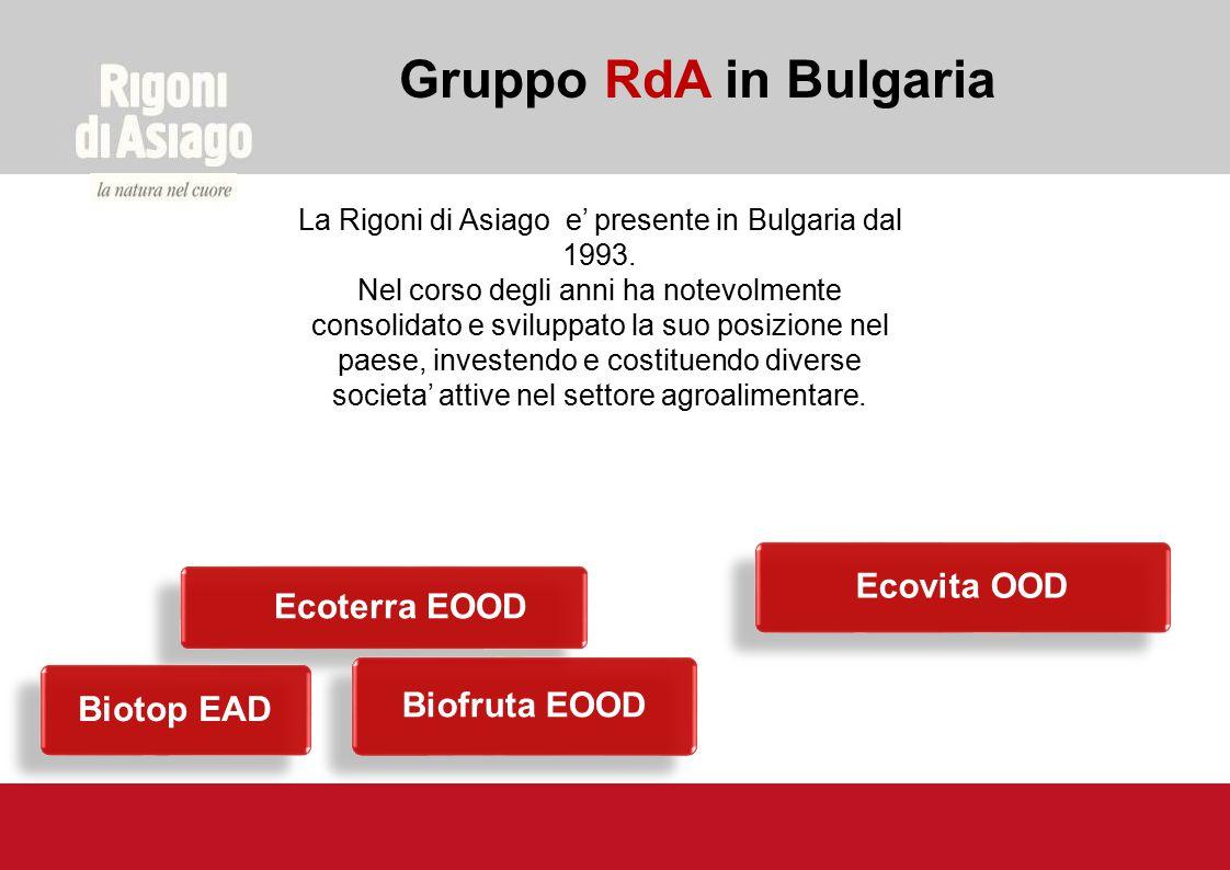 Gruppo RdA in Bulgaria La Rigoni di Asiago e' presente in Bulgaria dal 1993. Nel corso degli anni ha notevolmente consolidato e sviluppato la suo posi