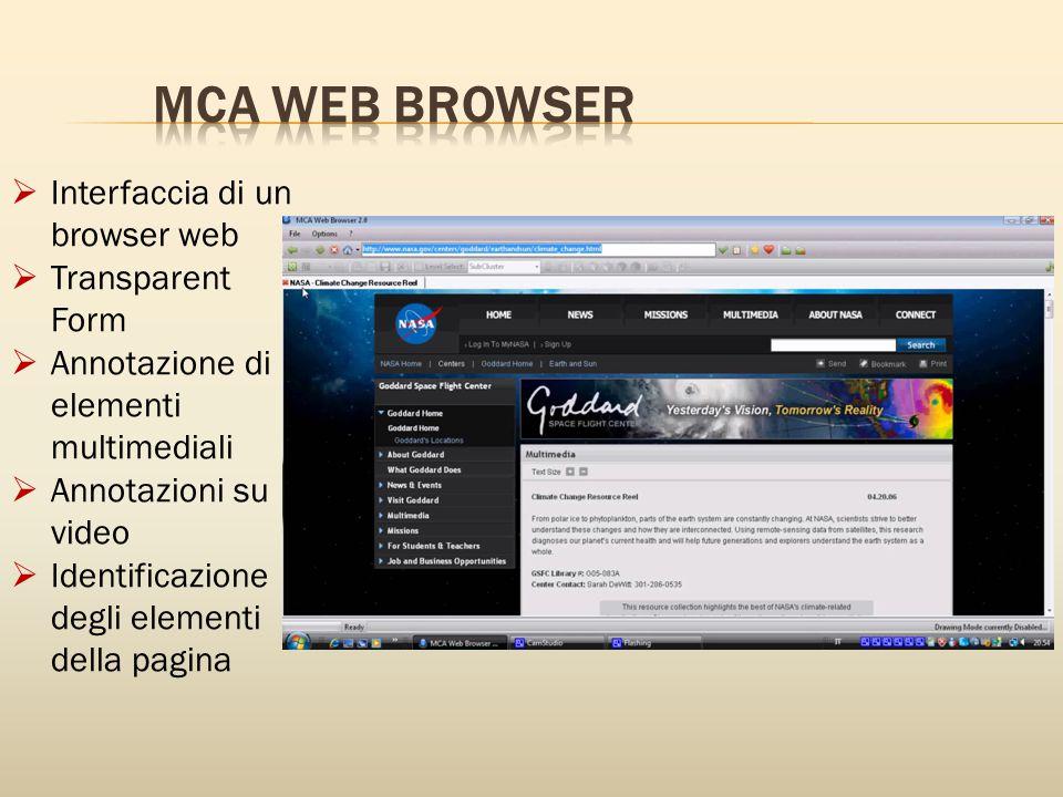  Interfaccia di un browser web  Transparent Form  Annotazione di elementi multimediali  Annotazioni su video  Identificazione degli elementi della pagina