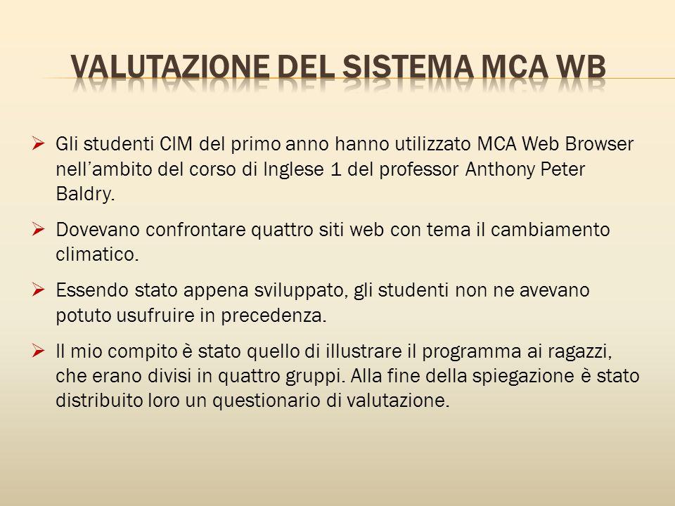  Gli studenti CIM del primo anno hanno utilizzato MCA Web Browser nell'ambito del corso di Inglese 1 del professor Anthony Peter Baldry.