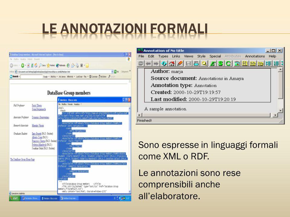 Sono espresse in linguaggi formali come XML o RDF.