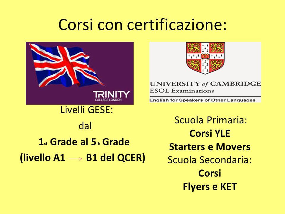 Corsi con certificazione: Livelli GESE: dal 1 st Grade al 5 th Grade (livello A1 B1 del QCER) Scuola Primaria: Corsi YLE Starters e Movers Scuola Seco