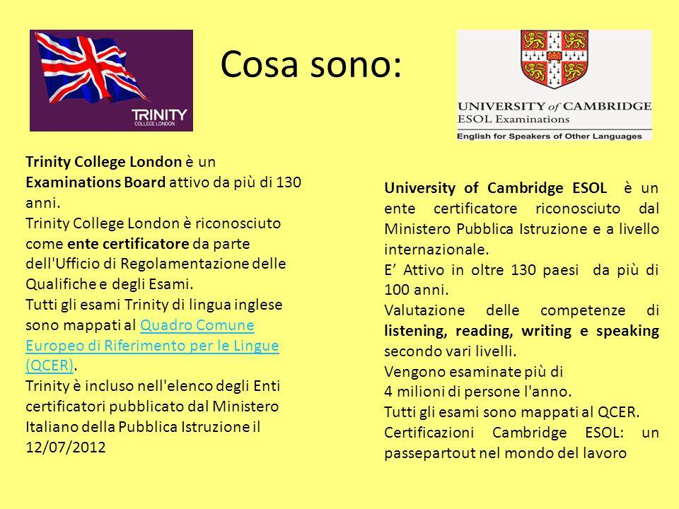 Cosa sono: Trinity College London è un Examinations Board attivo da più di 130 anni. Trinity College London è riconosciuto come ente certificatore da