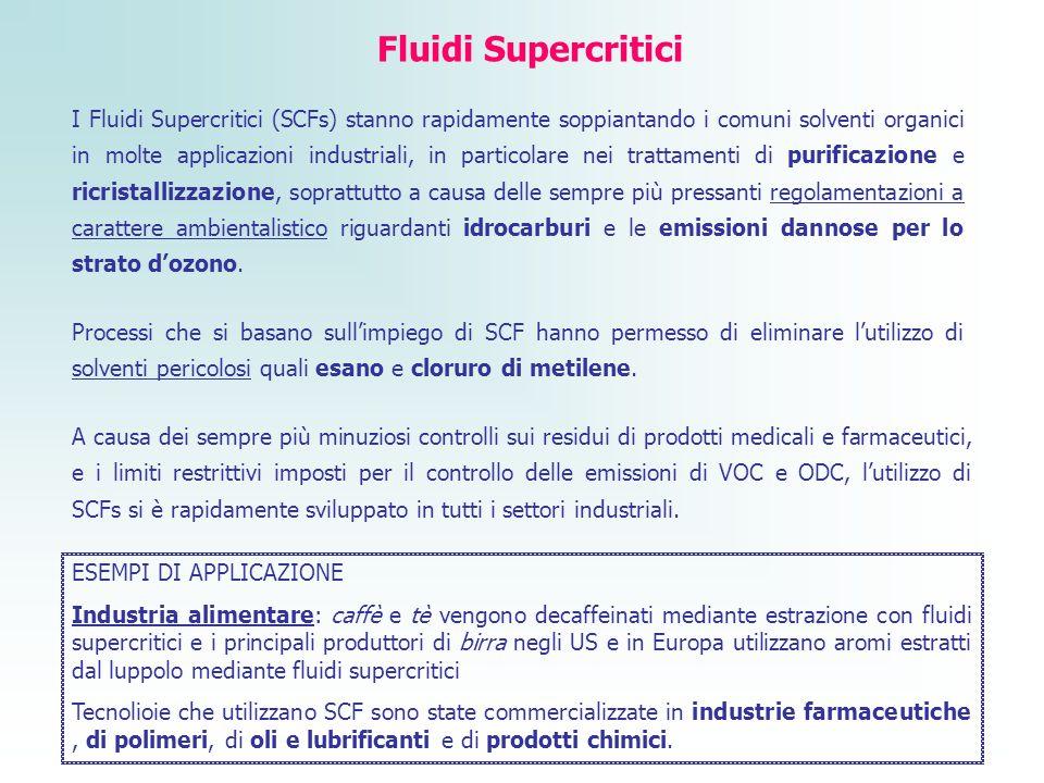 Fluidi Supercritici I Fluidi Supercritici (SCFs) stanno rapidamente soppiantando i comuni solventi organici in molte applicazioni industriali, in part