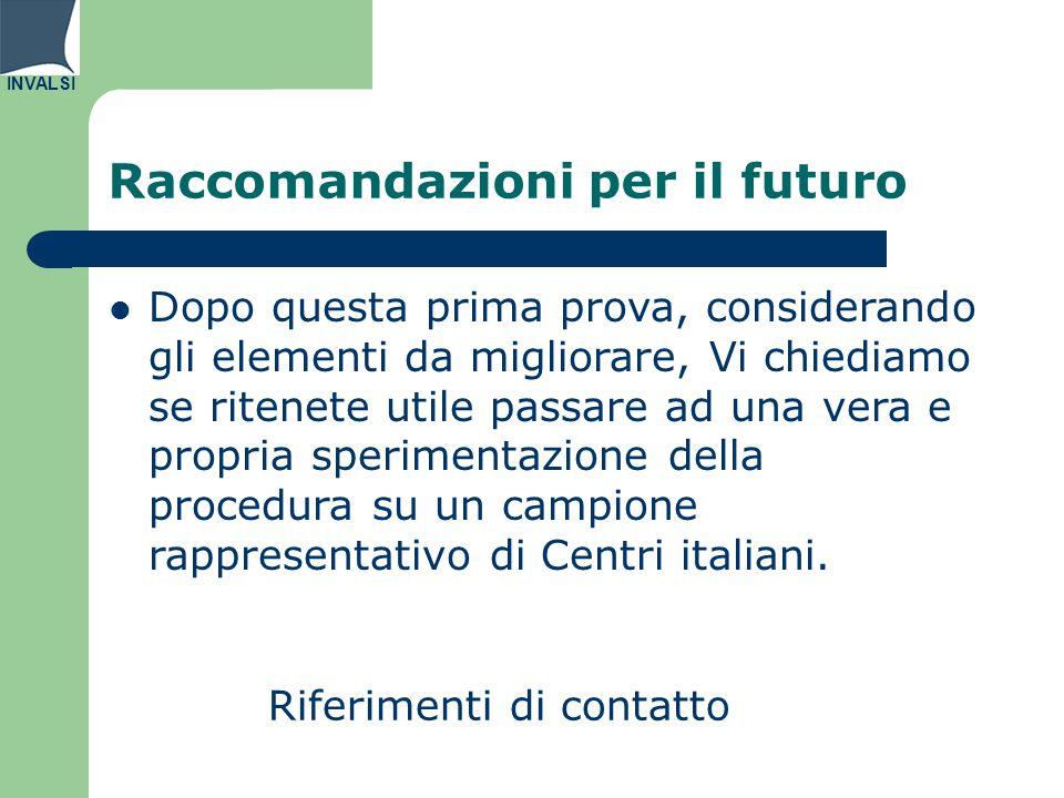 INVALSI Raccomandazioni per il futuro Riferimenti di contatto Dopo questa prima prova, considerando gli elementi da migliorare, Vi chiediamo se ritenete utile passare ad una vera e propria sperimentazione della procedura su un campione rappresentativo di Centri italiani.
