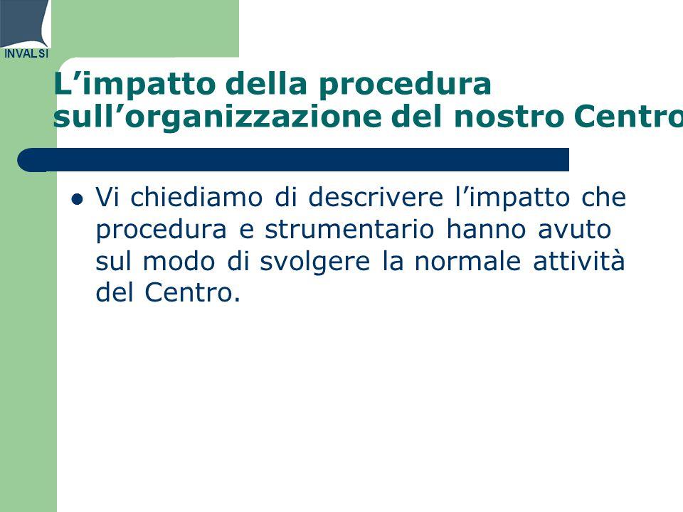 INVALSI L'impatto della procedura sull'organizzazione del nostro Centro Vi chiediamo di descrivere l'impatto che procedura e strumentario hanno avuto sul modo di svolgere la normale attività del Centro.