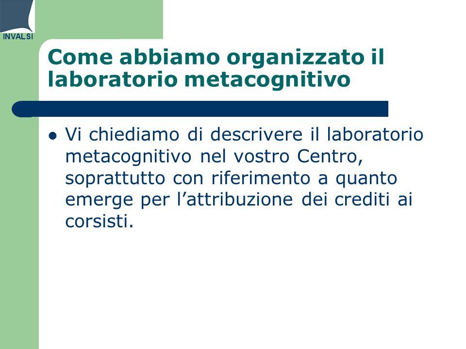 INVALSI Come abbiamo organizzato il laboratorio metacognitivo Vi chiediamo di descrivere il laboratorio metacognitivo nel vostro Centro, soprattutto con riferimento a quanto emerge per l'attribuzione dei crediti ai corsisti.