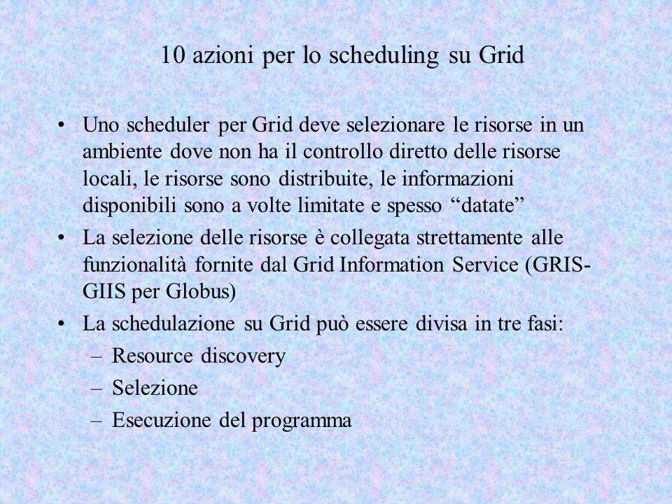 10 azioni per lo scheduling su Grid Uno scheduler per Grid deve selezionare le risorse in un ambiente dove non ha il controllo diretto delle risorse l