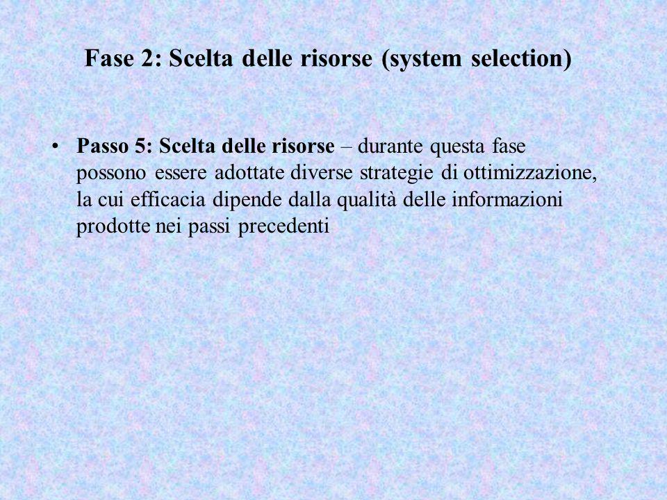 Fase 2: Scelta delle risorse (system selection) Passo 5: Scelta delle risorse – durante questa fase possono essere adottate diverse strategie di ottim