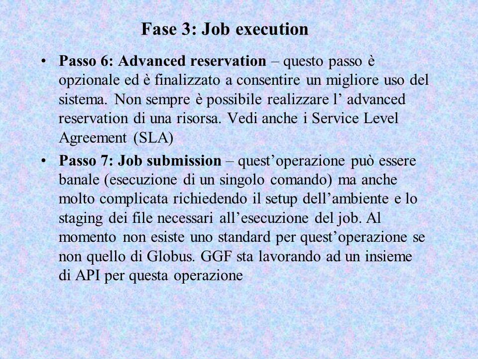 Fase 3: Job execution Passo 6: Advanced reservation – questo passo è opzionale ed è finalizzato a consentire un migliore uso del sistema. Non sempre è