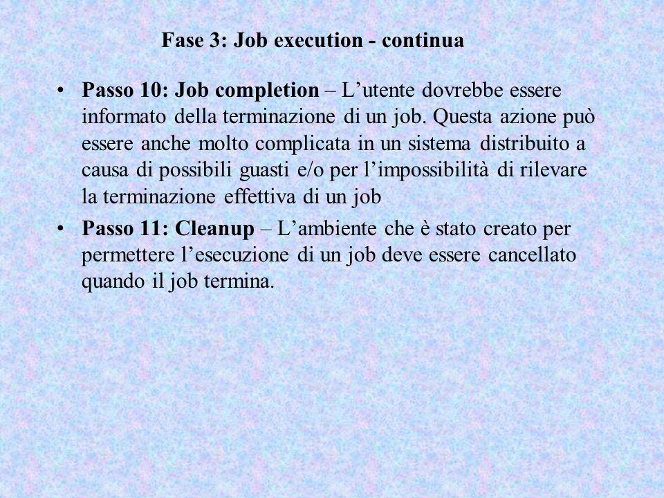 Fase 3: Job execution - continua Passo 10: Job completion – L'utente dovrebbe essere informato della terminazione di un job. Questa azione può essere