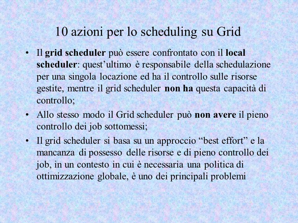 10 azioni per lo scheduling su Grid Il grid scheduler può essere confrontato con il local scheduler: quest'ultimo è responsabile della schedulazione p