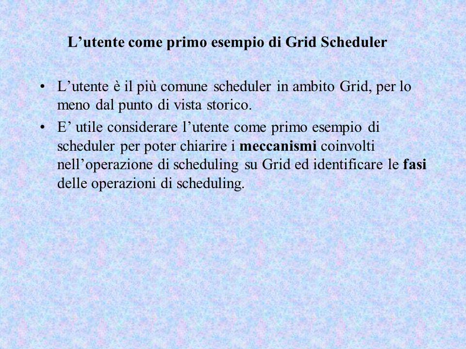 L'utente come primo esempio di Grid Scheduler L'utente è il più comune scheduler in ambito Grid, per lo meno dal punto di vista storico. E' utile cons