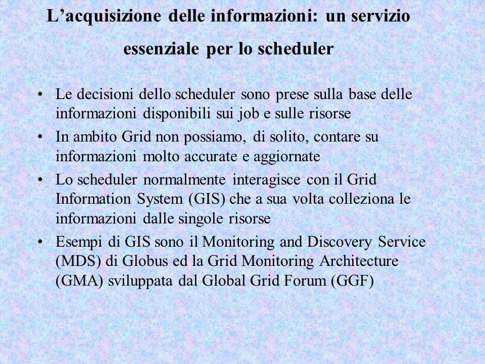 L'acquisizione delle informazioni: un servizio essenziale per lo scheduler Le decisioni dello scheduler sono prese sulla base delle informazioni dispo