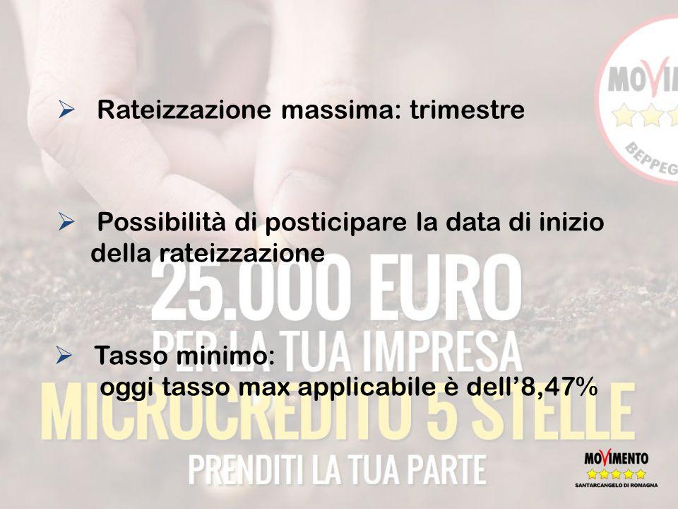  Rateizzazione massima: trimestre  Possibilità di posticipare la data di inizio della rateizzazione  Tasso minimo: oggi tasso max applicabile è dell'8,47%