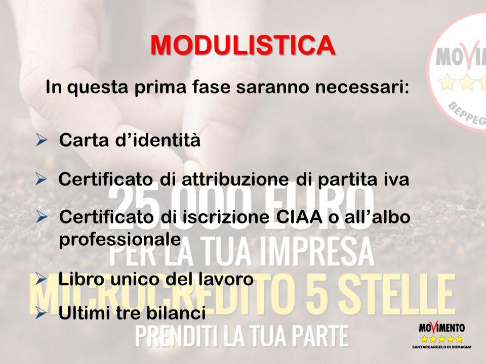MODULISTICA In questa prima fase saranno necessari:  Carta d'identità  Certificato di iscrizione CIAA o all'albo professionale  Libro unico del lavoro  Certificato di attribuzione di partita iva  Ultimi tre bilanci