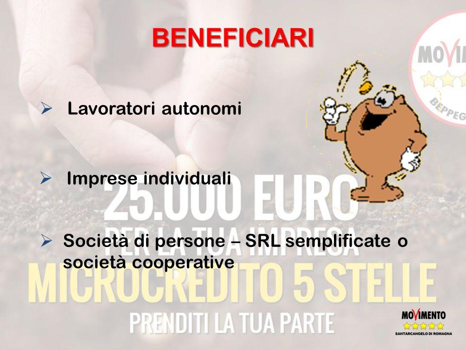 BENEFICIARI  Lavoratori autonomi  Imprese individuali  Società di persone – SRL semplificate o società cooperative
