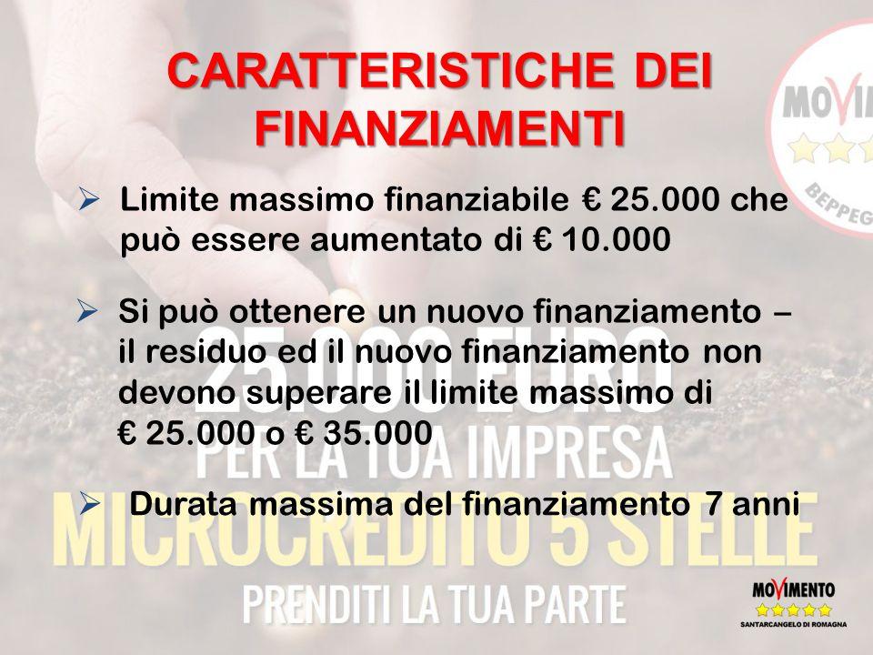 CARATTERISTICHE DEI FINANZIAMENTI  Limite massimo finanziabile € 25.000 che può essere aumentato di € 10.000  Si può ottenere un nuovo finanziamento – il residuo ed il nuovo finanziamento non devono superare il limite massimo di € 25.000 o € 35.000  Durata massima del finanziamento 7 anni