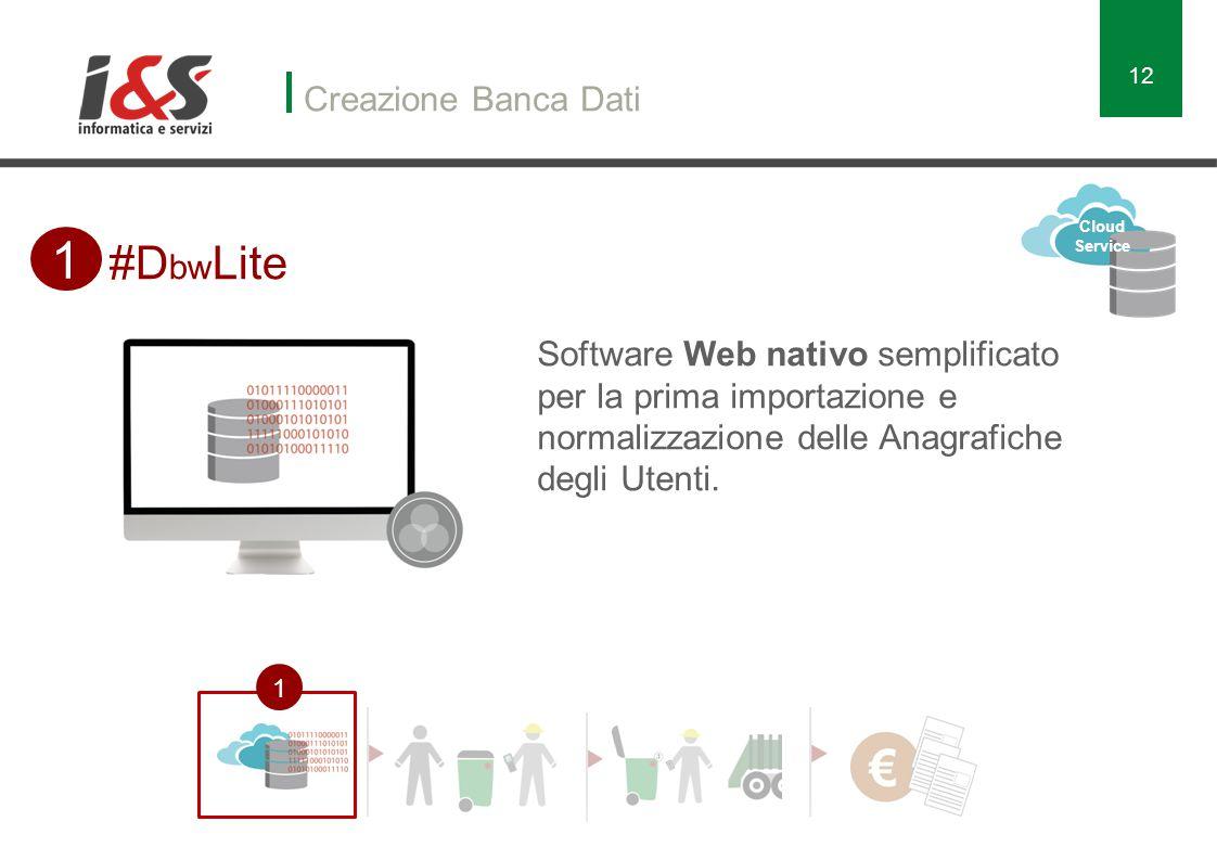 Creazione Banca Dati 12 #D bw Lite 1 1 Software Web nativo semplificato per la prima importazione e normalizzazione delle Anagrafiche degli Utenti.
