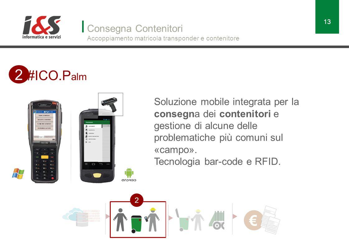 Consegna Contenitori Accoppiamento matricola transponder e contenitore 13 #ICO.P alm 2 2 Soluzione mobile integrata per la consegna dei contenitori e gestione di alcune delle problematiche più comuni sul «campo».