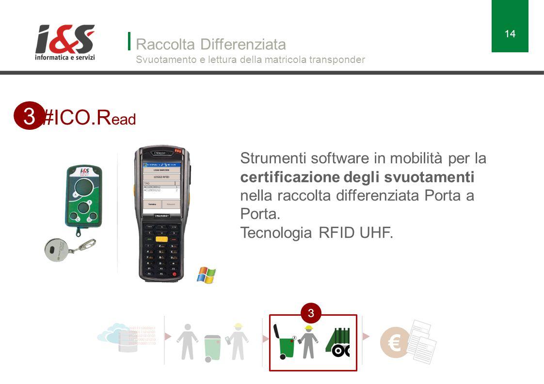 Raccolta Differenziata Svuotamento e lettura della matricola transponder 14 #ICO.R ead 3 3 Strumenti software in mobilità per la certificazione degli svuotamenti nella raccolta differenziata Porta a Porta.