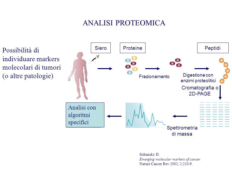 ANALISI PROTEOMICA Possibilità di individuare markers molecolari di tumori (o altre patologie) Siero Proteine Frazionamento Digestione con enzimi prot