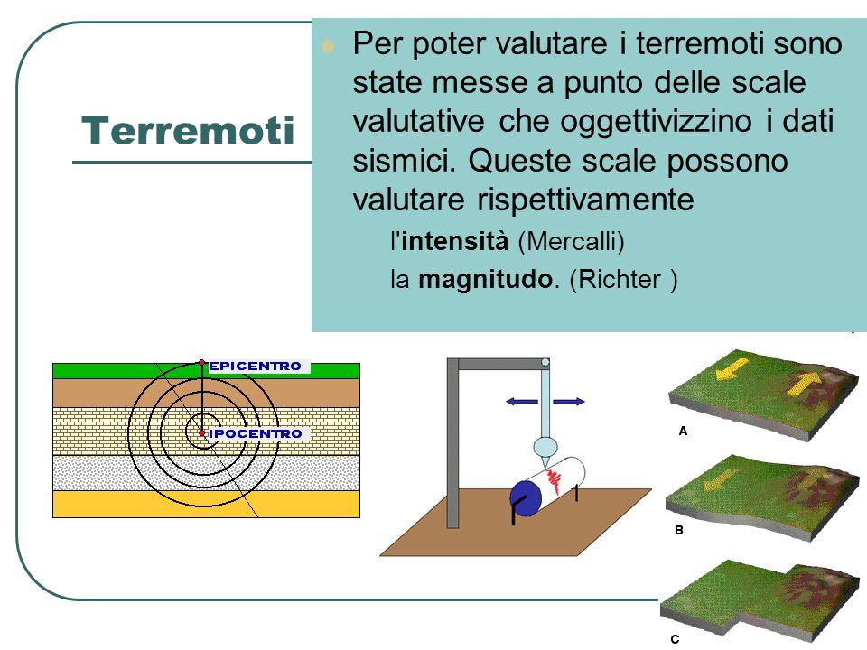 Terremoti Per poter valutare i terremoti sono state messe a punto delle scale valutative che oggettivizzino i dati sismici. Queste scale possono valut