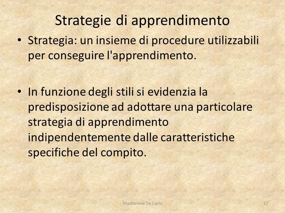 Strategia: un insieme di procedure utilizzabili per conseguire l apprendimento.