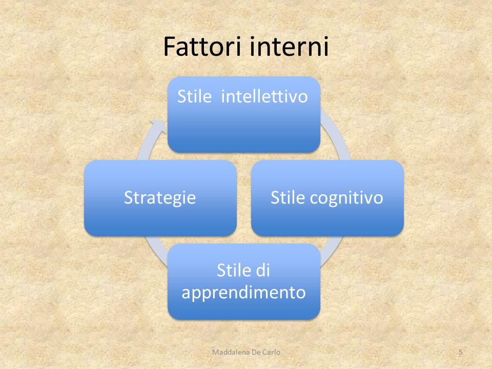 Stile intellettivo Stile cognitivo Stile di apprendimento Strategie Fattori interni Maddalena De Carlo5