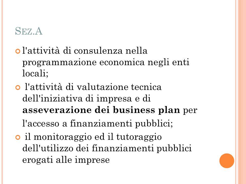 S EZ.A l'attività di consulenza nella programmazione economica negli enti locali; l'attività di valutazione tecnica dell'iniziativa di impresa e di as