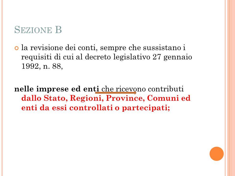 S EZIONE B la revisione dei conti, sempre che sussistano i requisiti di cui al decreto legislativo 27 gennaio 1992, n.