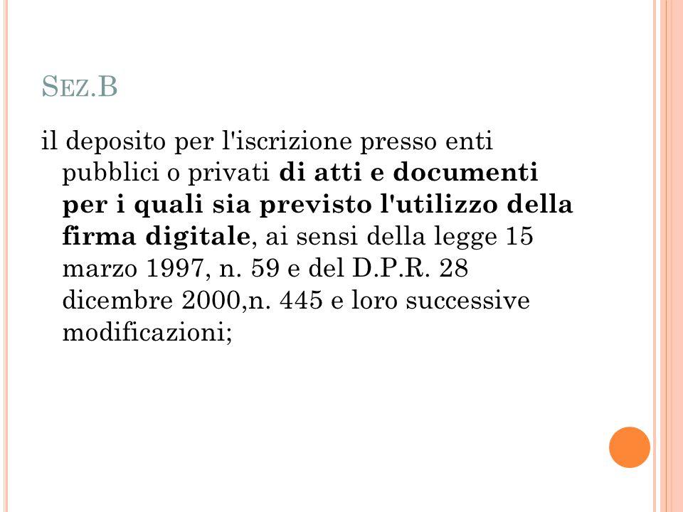 S EZ.B il deposito per l'iscrizione presso enti pubblici o privati di atti e documenti per i quali sia previsto l'utilizzo della firma digitale, ai se