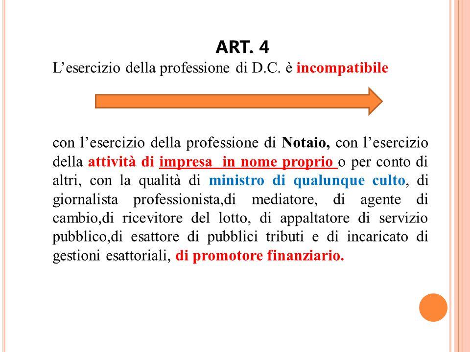 ART. 4 L'esercizio della professione di D.C. è incompatibile con l'esercizio della professione di Notaio, con l'esercizio della attività di impresa in