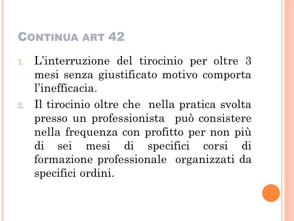 C ONTINUA ART 42 1. L'interruzione del tirocinio per oltre 3 mesi senza giustificato motivo comporta l'inefficacia. 2. Il tirocinio oltre che nella pr