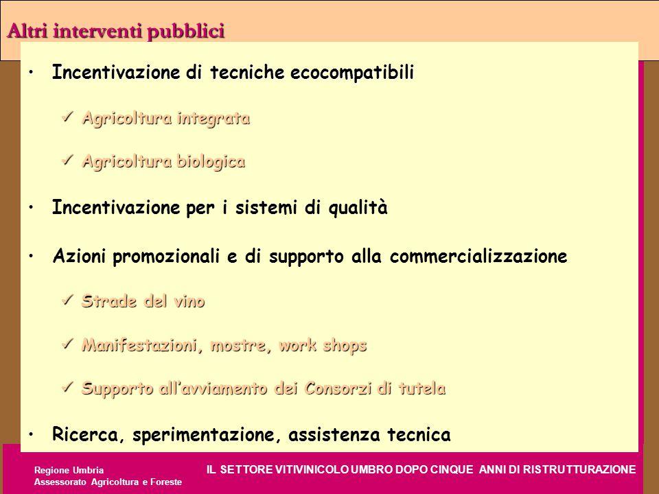 Regione Umbria IL SETTORE VITIVINICOLO UMBRO DOPO CINQUE ANNI DI RISTRUTTURAZIONE Assessorato Agricoltura e Foreste Altri interventi pubblici Incentiv