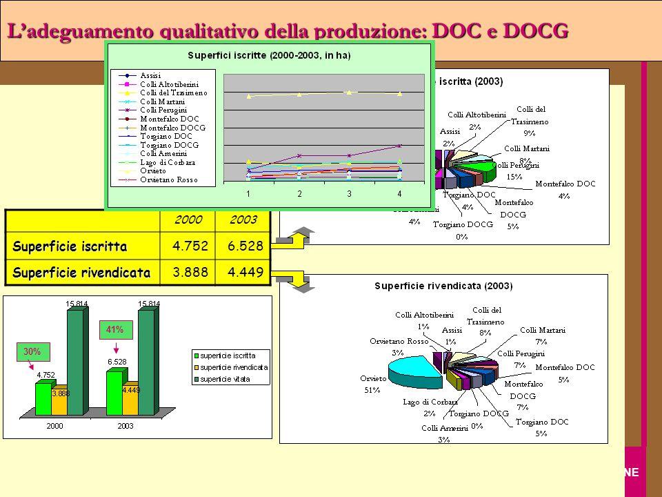Regione Umbria IL SETTORE VITIVINICOLO UMBRO DOPO CINQUE ANNI DI RISTRUTTURAZIONE Assessorato Agricoltura e Foreste L'adeguamento qualitativo della pr