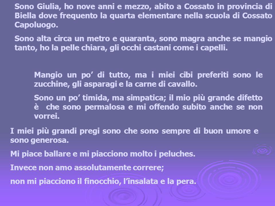 Sono Giulia, ho nove anni e mezzo, abito a Cossato in provincia di Biella dove frequento la quarta elementare nella scuola di Cossato Capoluogo. Sono