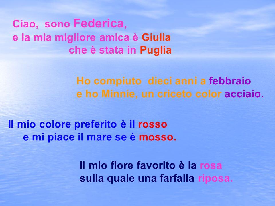Ciao, sono Federica, e la mia migliore amica è Giulia che è stata in Puglia Ho compiuto dieci anni a febbraio e ho Minnie, un criceto color acciaio. I