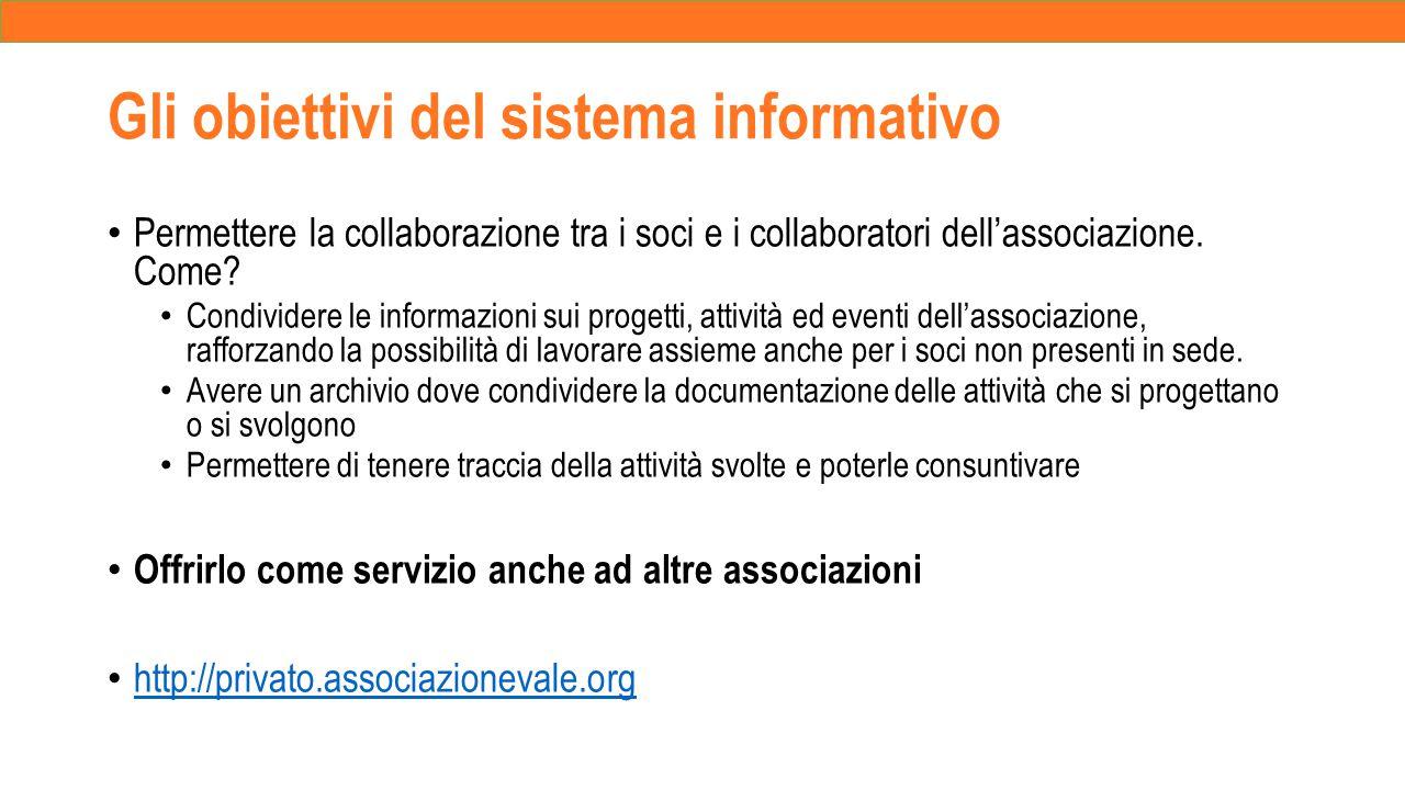 Gli obiettivi del sistema informativo Permettere la collaborazione tra i soci e i collaboratori dell'associazione.